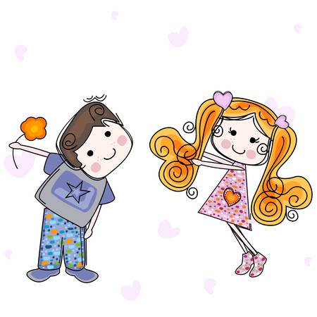 be my valentine card with girl and boy Stock Vector - 18029333