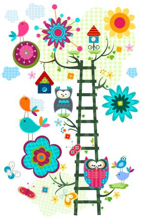whimsy: colorful owl s tree in bloom  Illustration