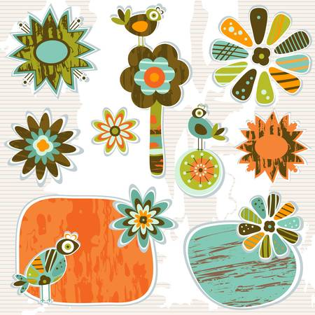 whimsy: cute retro decorative frames and flowers Illustration