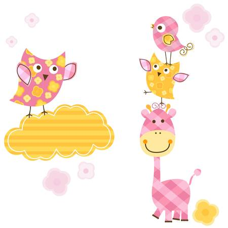 cute happy birds   giraffe set for baby girl