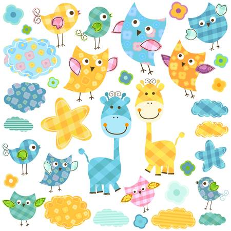 cute happy birds   giraffes set for babies Zdjęcie Seryjne - 18029325