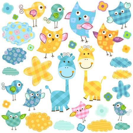 cute happy birds   giraffes set for babies Illustration