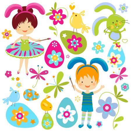 ester: kids in bunnies costumes, colorful ester set
