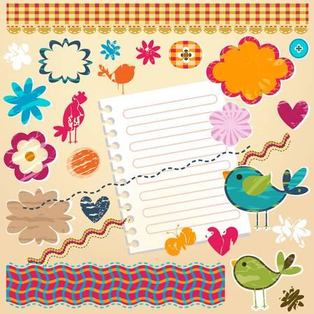 love cloud: cute colorful textured design elements for scrapbook