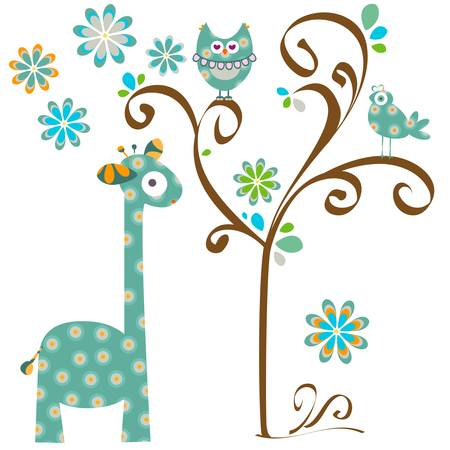 owl on branch: owl and giraffe