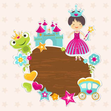 frog in love: frame, little princess with castle