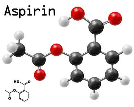structural model of aspirin molecule Vector
