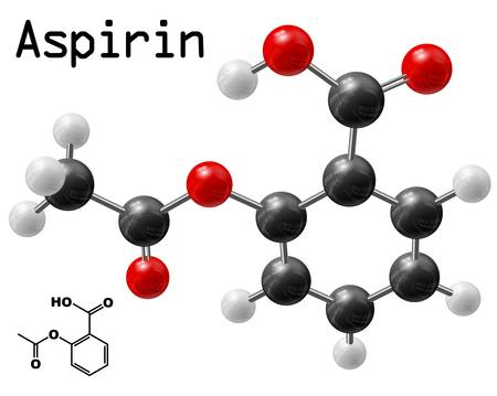 organic chemistry: structural model of aspirin molecule