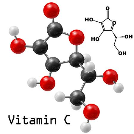 chemical formula: structural model of vitamin C molecule