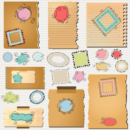 layout templates with cute doodled frames  Vector