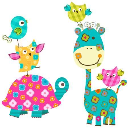 glücklichen Vögel und Giraffen