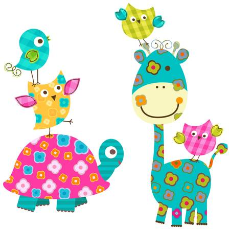 happy birds and giraffe Vector
