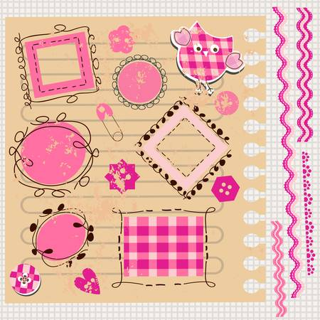 scrapbook kit with cute elements Vector