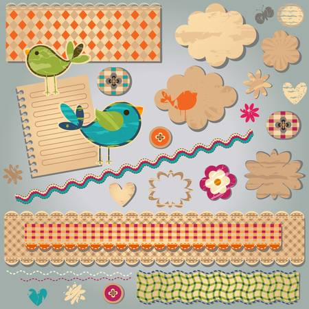 cute colorful textured design elements for scrapbook Stock Vector - 18083867