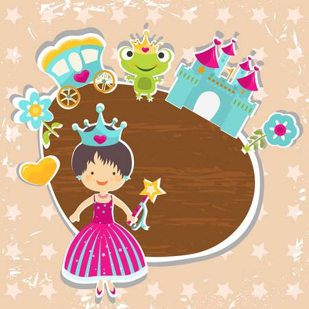frame, little princess with castle  Vector