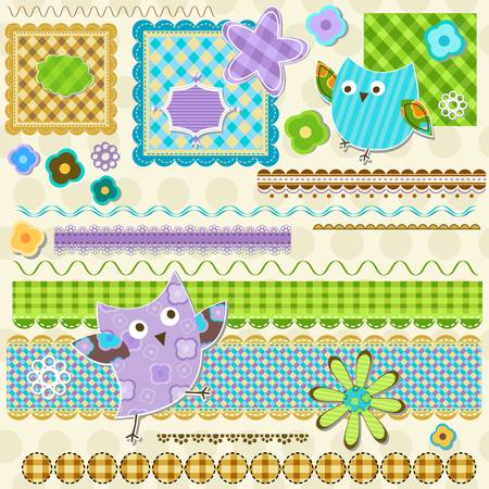 cute textured elements for scrapbook  Illustration