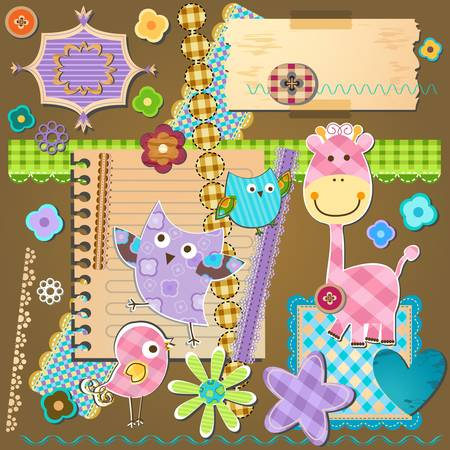 cute border:  textured design elements for scrapbooking Illustration