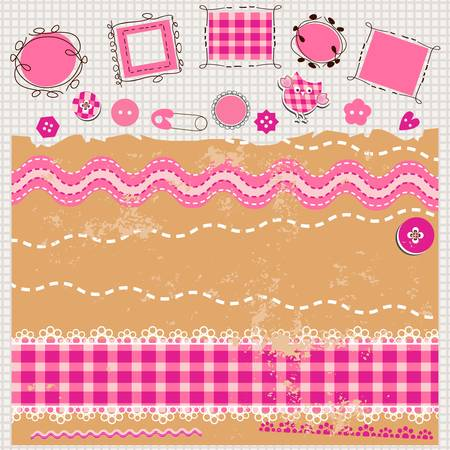 pink scrapbook kit with cute elements Zdjęcie Seryjne - 18382848