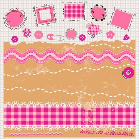 rosa scrapbook kit mit niedlichen Elementen