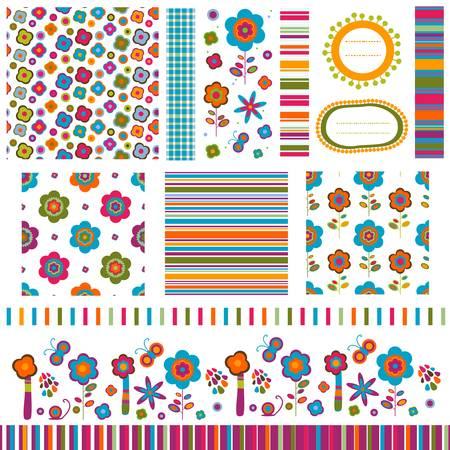 animal border: summer backgrounds, flower patterns set Illustration