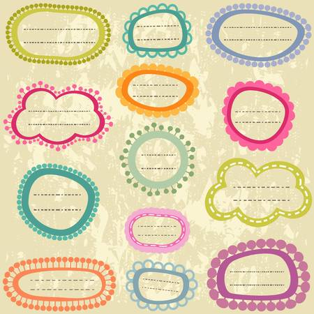 colorful labels set on aged paper Illustration