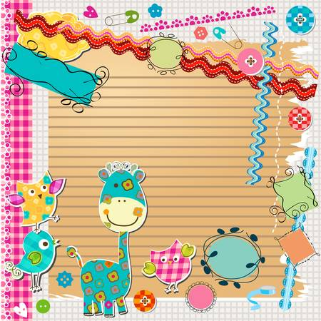 giraffe frame: scrapbook kit with cute elements