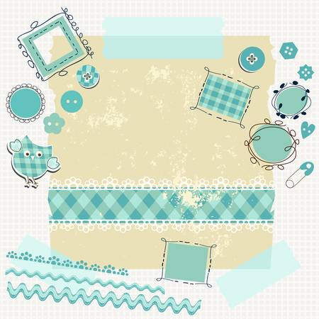 blue scrapbook kit with cute elements Illustration