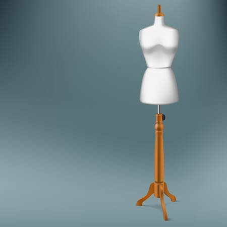 white tailor dummy with wood stand Illustration