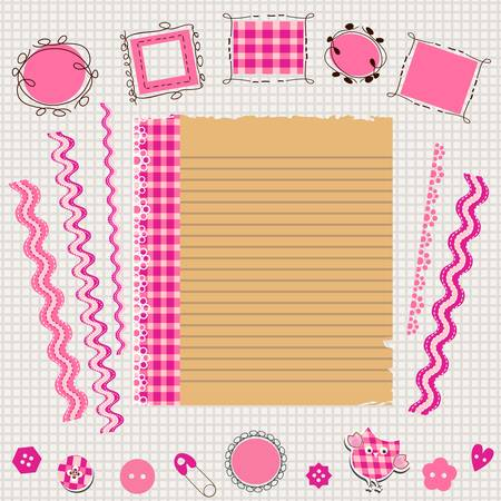 pink scrapbook kit with cute elements Vector