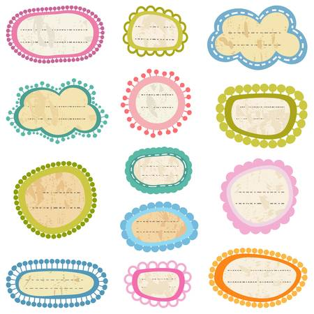 colorful labels set on aged paper Stock Vector - 18626828