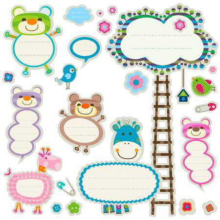 giraffe frame: colorful labels set with cute elements Illustration