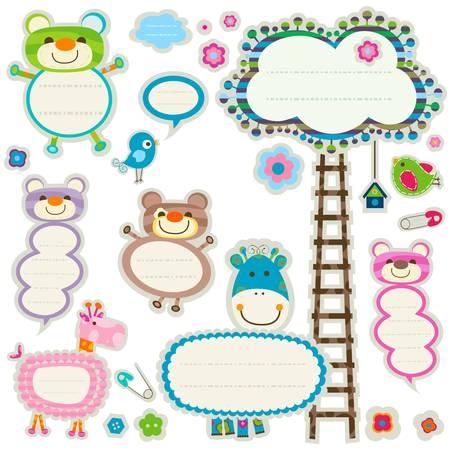 girotondo bambini: etichette colorati set con elementi carino Vettoriali