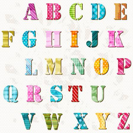 vintage children: textured alphabet, colorful letters set