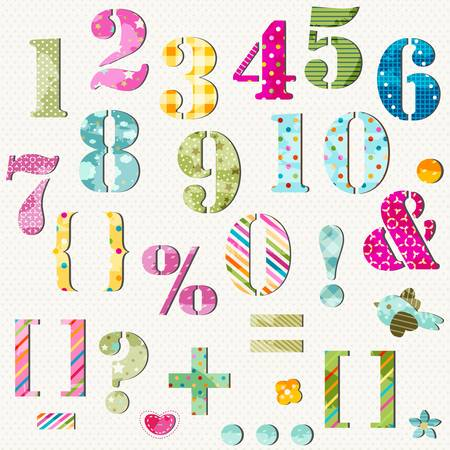 colorful numbers set and signs Vector