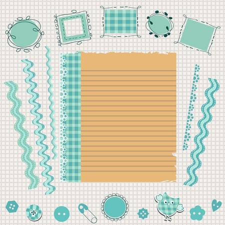 school kit: blue scrapbook kit with cute elements Illustration