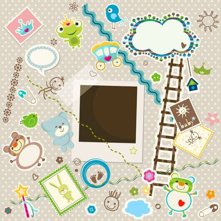 baby background, colorful scrapbook set with cute elements Vector