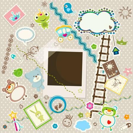 Baby-Hintergrund, bunt scrapbook set mit niedlichen Elementen