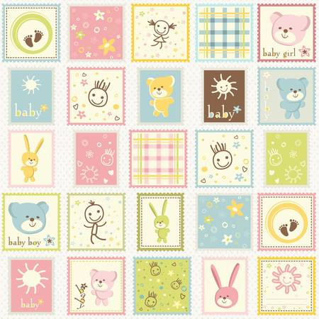 baby postage colored cute set Vector