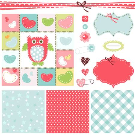 fabric label: design elements for baby scrapbook