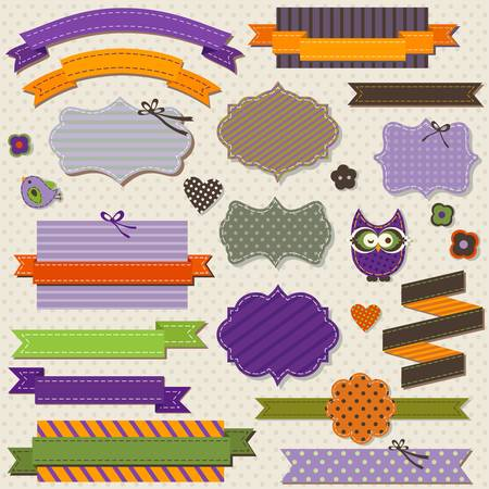 vintage ribbons set for Halloween Vector