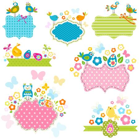 easter frames set with birds and flowers Vector