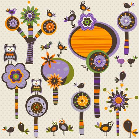 Halloween whimsy forest with trees and birds Vector