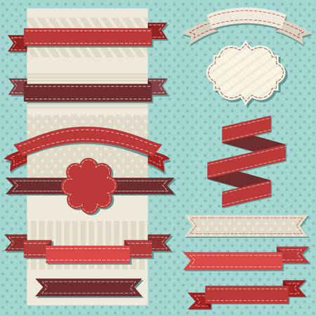 vintage ribbons set for christmas Vector