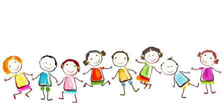 Gruppe glückliche Kinder spielen Illustration