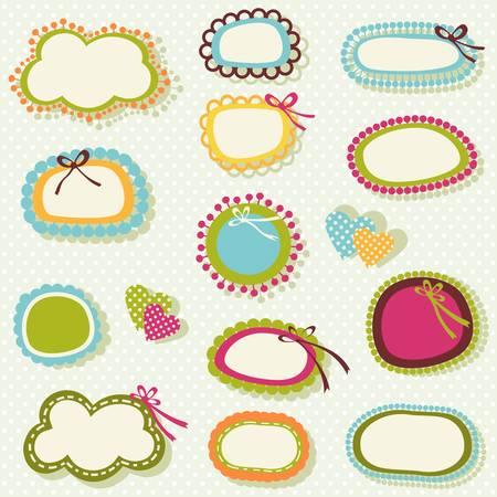 cute labels set in spring colors Illustration