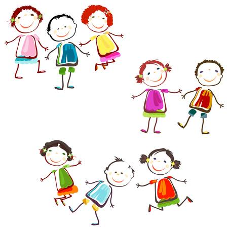 group of happy children playing Vector