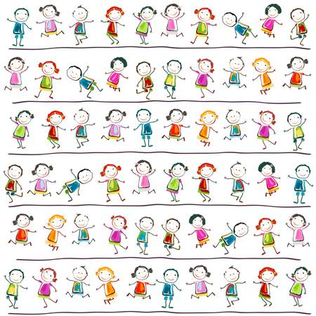 preschool child: group of happy children playing Illustration