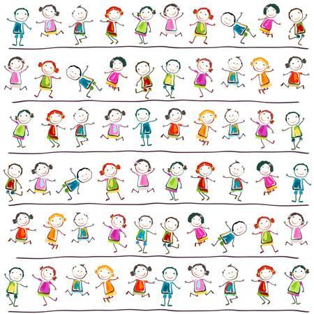 dessin enfants: groupe d'enfants heureux jouant