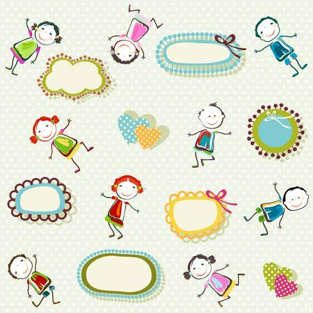 colorful background with happy children playing Vector