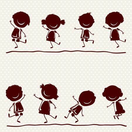silhouettes of  happy children playing Illustration